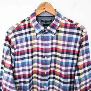 Tommy Hilfiger Men Size L Shirt Plaid Custom Fit